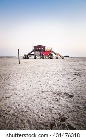 Architecture photography one a stilt house at the beach Stankt Peter Ording.