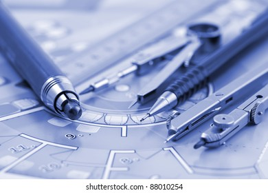 Architecture plan of interior & work tools - ruler, pencil, compass
