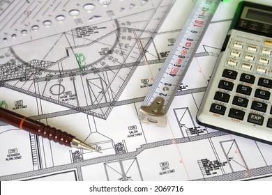 Architecture plan, pencil, ruler and measurement close up.