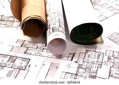 Architecture planning of interiors designe on paper