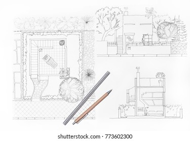 Architecture plans Home and garden, luxury villa
