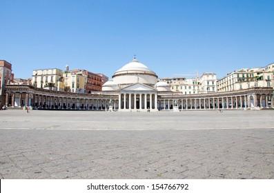 Architecture of Plebiscito Square in Naples, Italy