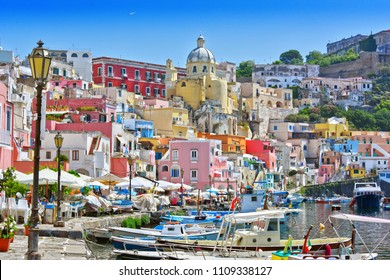 Architecture of Procida Island a comune of the Metropolitan City of Naples, Campania, Italy.