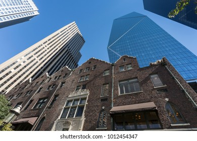 Architecture of the Rainier Club and contrasting skyscrapers on 4th Avenue, Downtown, Seattle, Washington, USA, North America 21 September 2017
