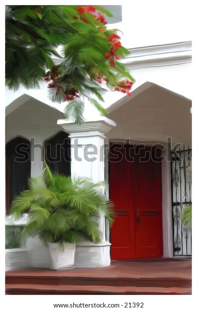 Architecture with red door and tree