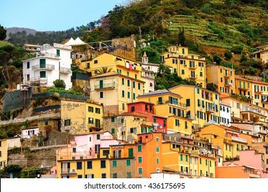 Architecture of Riomaggiore, a village in province of La Spezia, Liguria, Italy. It's one of the lands of Cinque Terre, UNESCO World Heritage Site