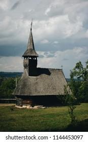 Architecture of Romania. Wooden Farms and Churches. Transylvania. Ethnographic Park Romulus Vuia, Romania, Cluj-Napoca, 10.07.2017