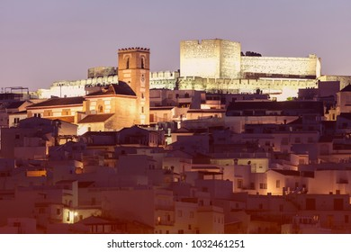 Architecture of Salobrena at sunset. Salobrena, Andalusia, Spain.