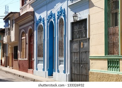 Architecture in Santa Clara, Cuba. Colonial buildings.
