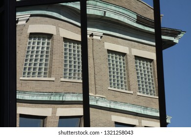 Architecture seen through abstract window.