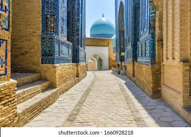 Architecture of Shah-i-Zinda ensemble, Samarkand, Uzbekistan