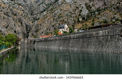 architecture of side entrance fortifications of Old Town of Kotor, Montenegro