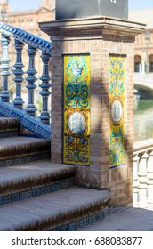 The architecture of Spanish Square (Plaza de Espana) in Seville, Andalusia, Spain.  Columns and balustrades of bridges are decorated by typical Andalusian old ceramic