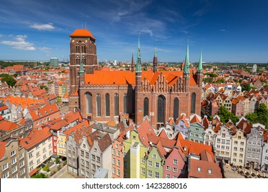 Architecture of the St. Mary's Basilica in Gdansk, Poland