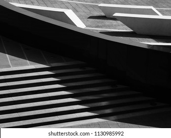 architecture street stair with light and shadow in city black and white style