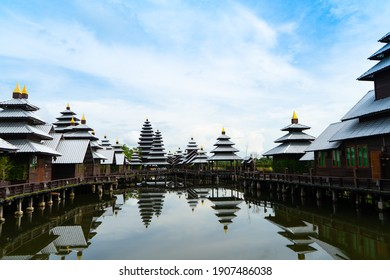 ฺBali Architecture style with lake,The Tower beautiful of hotel have location for take picture and relaxing in holiday,Chanthaburi city is Rattanaburi Resort. - Shutterstock ID 1907486038