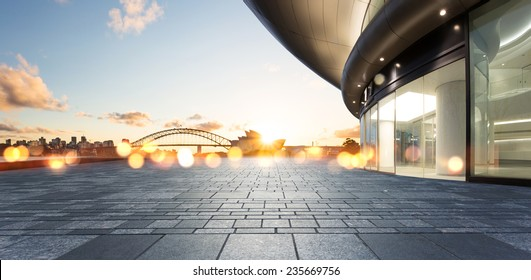 architecture with sydney cityscape background.