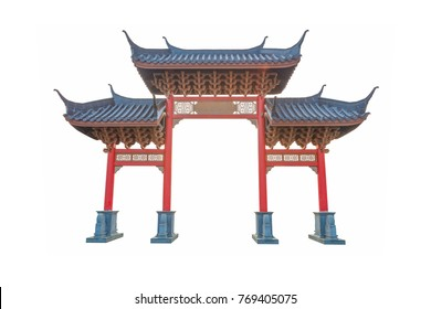 architecture temple  Chinese gate a White backdrop
