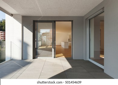 Architecture, terrace of new apartment