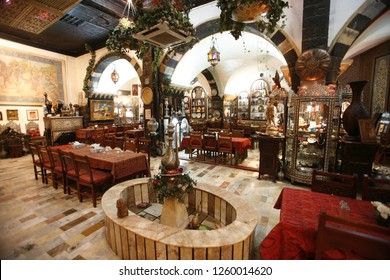 the architecture of a traditional restaurant in the market or souq in the old town in the city of Damaskus in Syria in the middle east.       Syria, Damascus, April, 2009