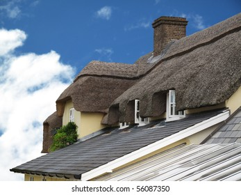 Architecture traditional thatched roof on cottage