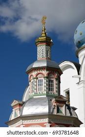 Architecture of Trinity Serguis Lavra, Sergiyev Posad, Russia. Popular landmark. Color photo.