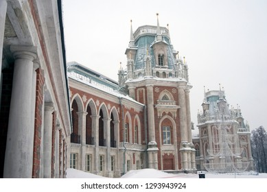 Architecture of Tsaritsyno park in Moscow. Color winter photo. Free entrance public park.