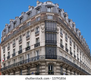 Architecture : typical Parisian building in corner of Hector Malot Street and Daumesnil Avenue. Panoramic assemblage.