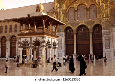 the architecture of the Umayyad Mosque in the city of Damaskus in Syria in the middle east.      Syria, Damascus, April, 2009