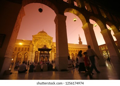 the architecture of the Umayyad Mosque in the old city or souq of the city Damaskus in Syria in the middle east.      Syria, Damascus, April, 2009