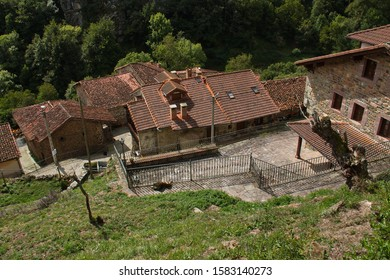 Architecture in village Las Ilces near Espinama in national park Picos de Europa in Cantabria,Spain,Europe