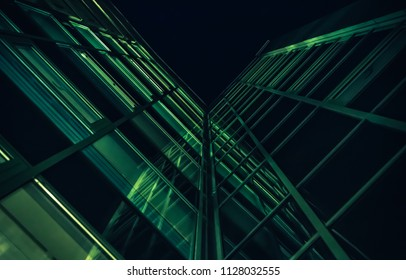 architecture of a window of a modern builing at night