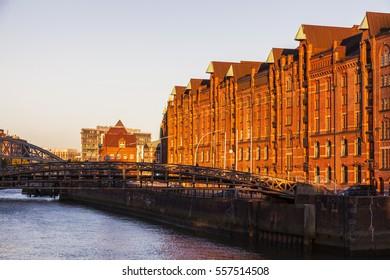 Architecutre of Hamburg at sunset. Hamburg, Germany.