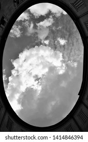 Architeture and sky in black and white in Ferrara, Italy
