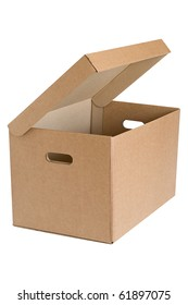 Archival cardboard box with the lid open