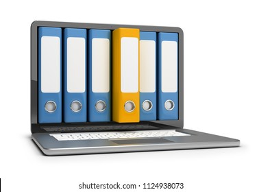 Archive folders on the laptop screen. 3d image. White background.