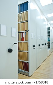 Archive Interior. Modern mobile cabinet with documents folder