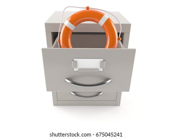 Archive with life buoy isolated on white background. 3d illustration