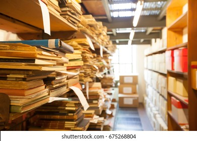 archive storage, old documents and books stored in the library