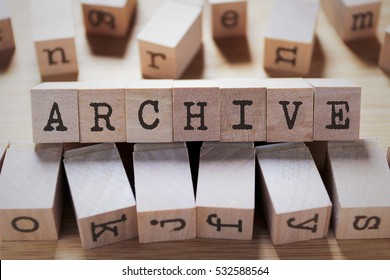 Archive Word In Wooden Cube