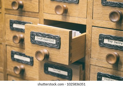 The Archives Card Catalog , old wooden file catalog box, index , database, archive and library concept.