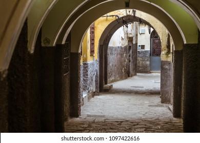 Archway in the alleys of the medina of Tangier, north of Morocco