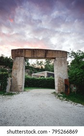 Archway in austria with purple sky