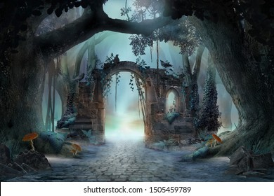Archway in an enchanted fairy forest landscape, misty dark mood, can be used as background