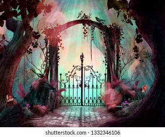 Archway in an enchanted fairy garden Landscape