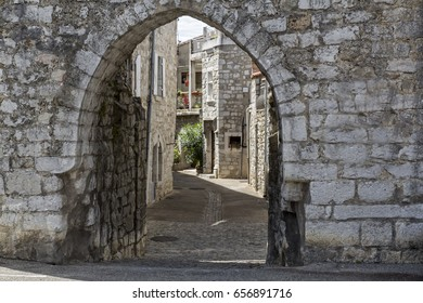 Archway inside the small village of Ruoms Southern France