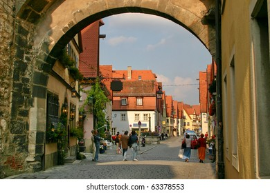 The archway on the street in old town,  Rothenburg ob der Taube,  Germany