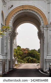 Archway outside of the Sultan Abu Bakar State Mosque Building in Johor Bahru in Malaysia. The mosque was built between 1892 and 1900 and was named after the ruling Sultan at the time.