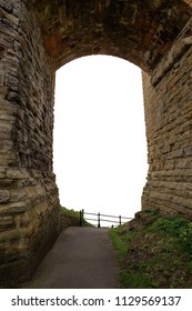 archway under a castle cutout  background