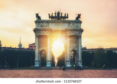 "Arco della Pace or ""Arch of Peace"" in Milan, Italy, built as part of Foro Bonaparte to celebrate Napoleon's victories. It is city gate of Milan located at center of Simplon Square in Milan, Italy."